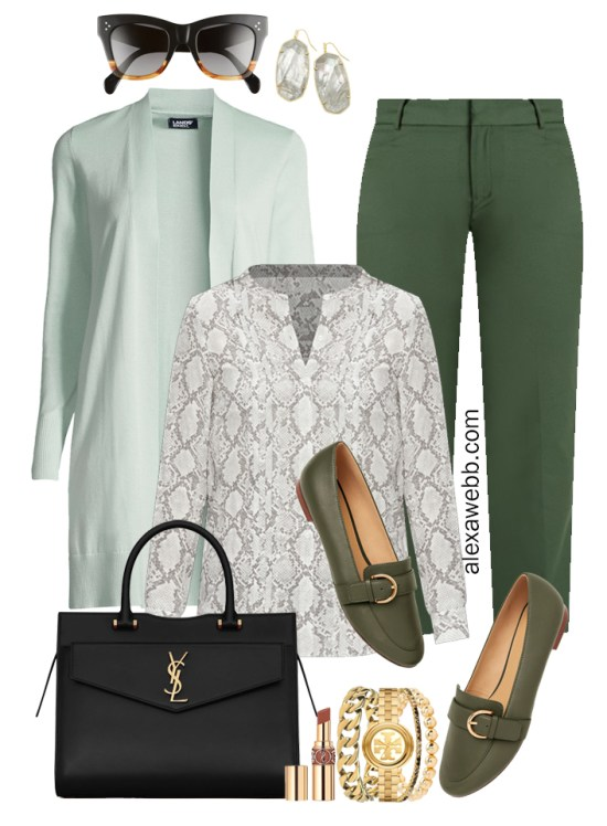2021 Plus Size Fall Work Capsule Wardrobe by Alexa Webb. This is just part one of a series. This business casual outfit idea features green pants, a grey snake print blouse, and a mint cardigan.