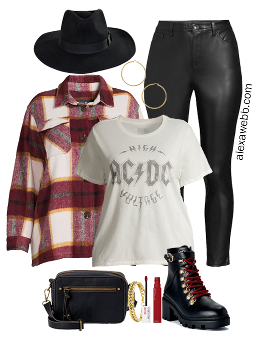 A plus size shacket outfit idea with a plussize plaid shacket, black faux leather leggings, graphic t-shirt, rancher hat, and hiker booties by Alexa Webb
