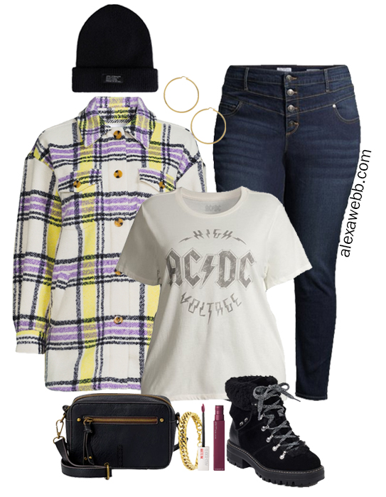 A plus size shacket outfit idea with a plussize plaid shacket, dark jeans, graphic t-shirt, black beanie, and hiker booties by Alexa Webb