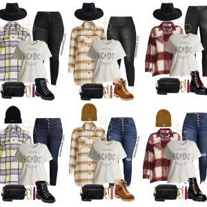 Plus Size Shacket Outfit with Walmart for Fall. A plussize plaid shacket or shirt jacket with faux leather leggings or jeans, graphic t-shirt, and hiker booties. Alexa Webb