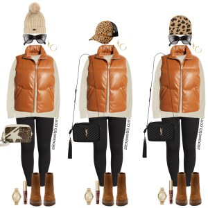 Plus Size Faux Leather Puffer Vest Outfits for Fall with Black Skinny Jeans and Ankle Booties - Alexa Webb