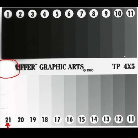 Film speed test stouffer negative