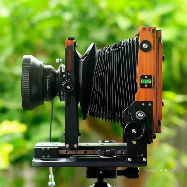 Chamonix F2 4x5 camera with asymmetrical tilt large-format camera movements