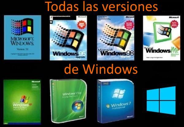 todas las versiones de microsoft windows