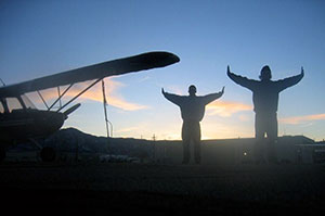 Alex Gilmer and Friend, Flying Wings Wind Test