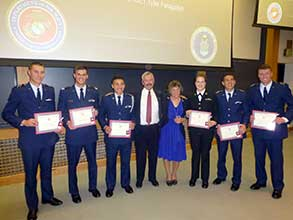 Alexander Cueller, Jayce Yeager, Scott Kumjian, Dylan Thomas Martinez, Jessica Hild and Tyler Faragallah with Todd Gilmer and Mary Gilmer.