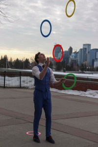 Professional juggler Jason Melnychuk performing at SAIT.