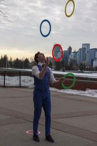 Professional juggler Jason Melnychuk performing at SAIT.
