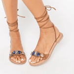 Leather embellished jewel sandals