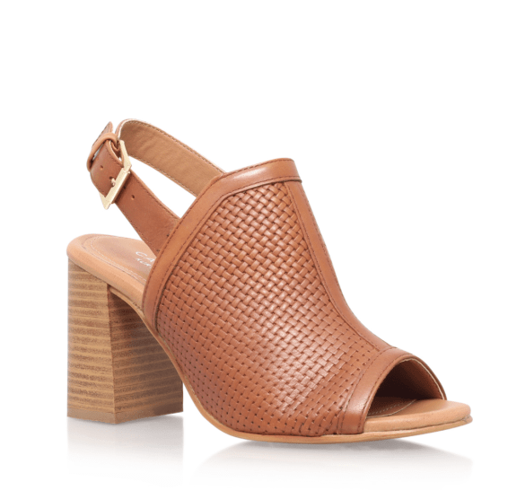 Carvela tan mule block heel slingback sandals