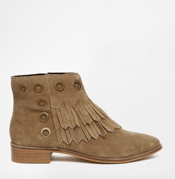 ASOS Atlas tan suede fringe ankle boots