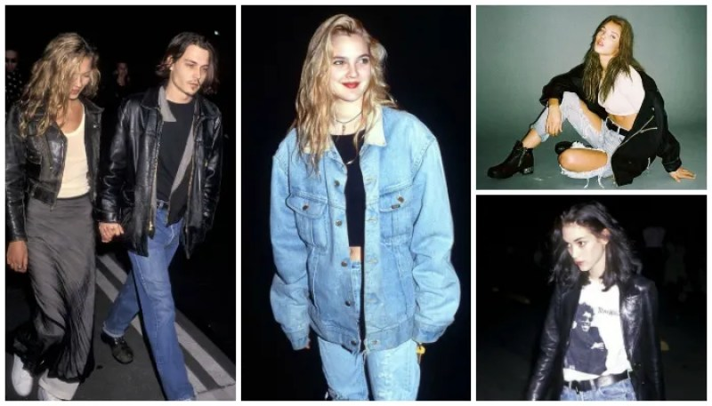 '90s Grunge Style Icons Kate Moss Johnny Depp Drew Barrymore Kate Moss Winona Ryder