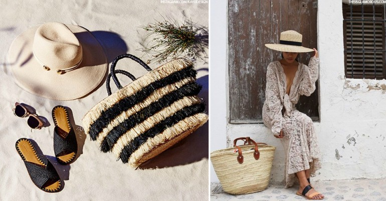 beach party accessories - straw beach bag and straw beach hat