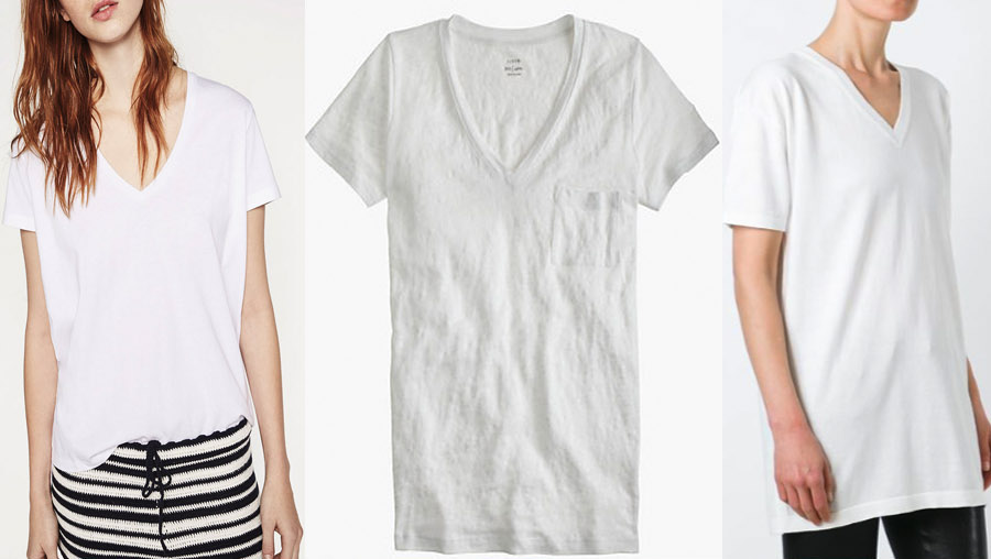 outfit grid womens white t-shirts v neck style fashion