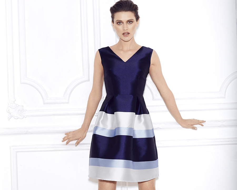womens cocktail party dress attire blue white