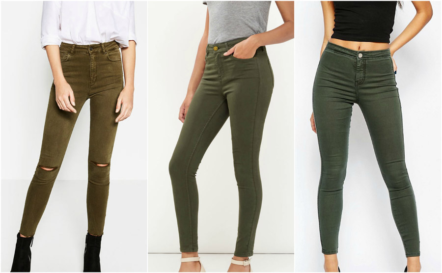 Khaki Coloured High Waist Jeans Shop Grid Alexie 2