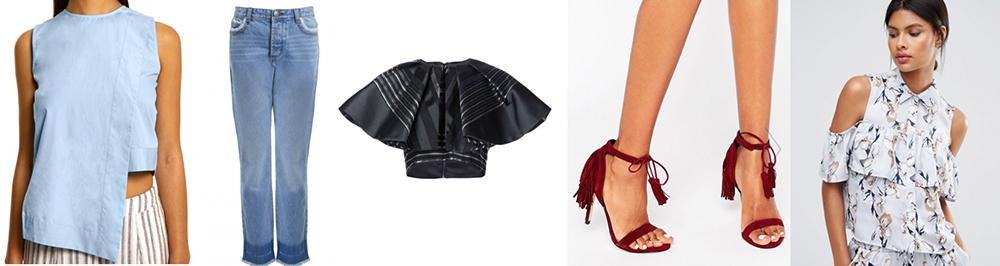 outfit grid womens boyfriend jeans summer top shoes print