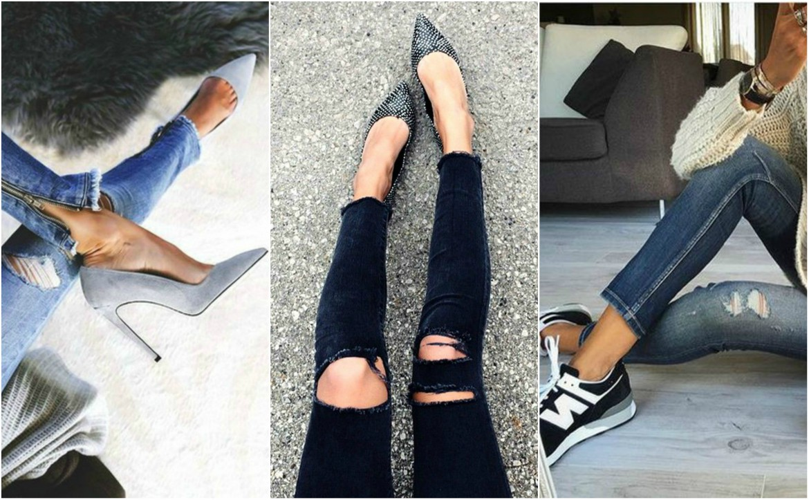 grid of shoes and skinny jeans