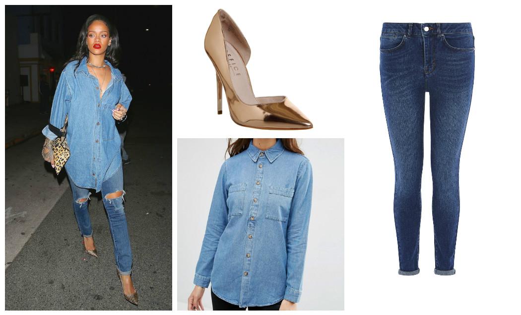 denim-on-denim-denim-shirt-denim-jeans-rose-gold-heels-rihanna