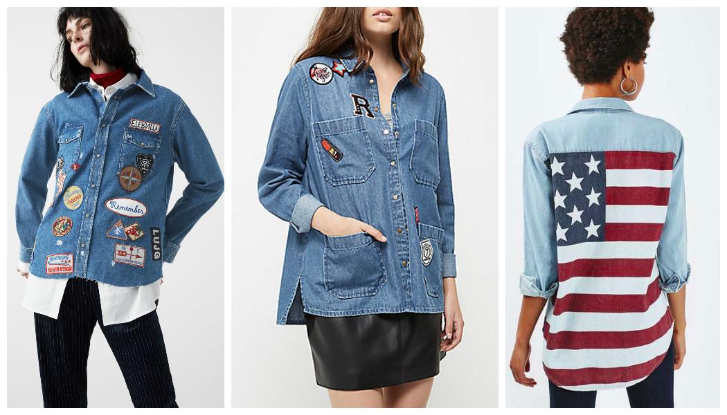 patterned denim shirts