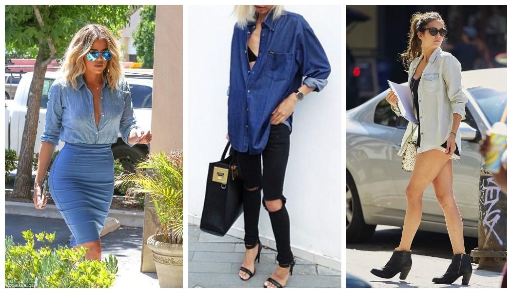 summer denim shirts khloe-kardashian-nina-dobrev