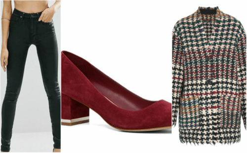 outfit grid: red block heels, coated jeans and tartan peacoat