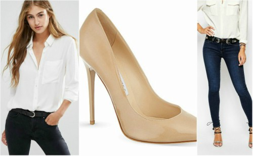 classic jeans look with white shirt and nude heels