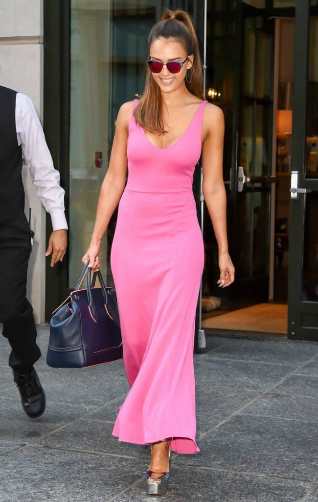 Jessica Alba Wearing Pink Maxi Dress