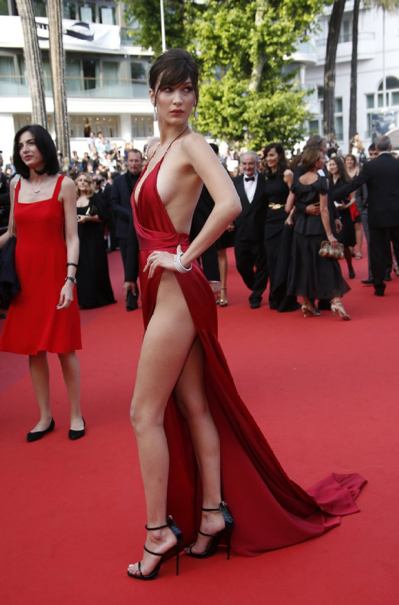 bella hadid in red slit dress