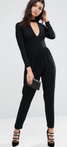 ASOS Plunge Neck Jersey Jumpsuit with Long Sleeve £28