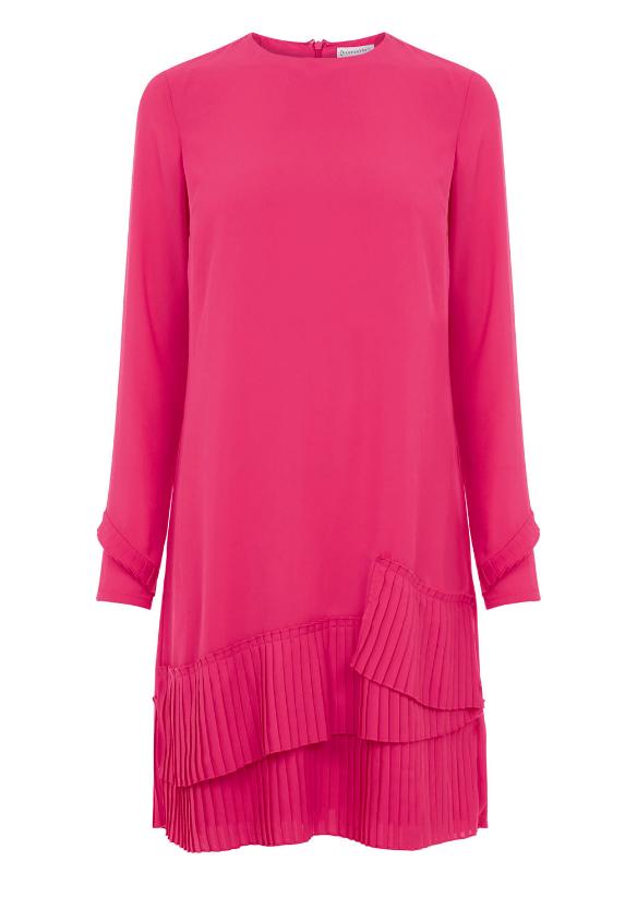 Warehouse Pleated Hem Shift Pink Dress £49