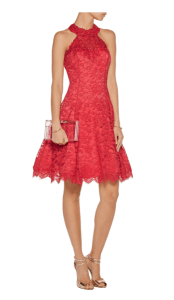Marchesa Notte Embellished red lace mini dress £328.50