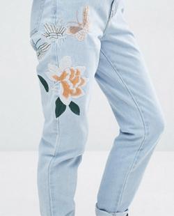 Asos Glamorous Emroidered Mom Jeans