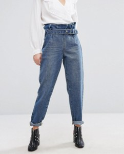 Asos Lost Ink Mom Jeans With Paper Bag Waist