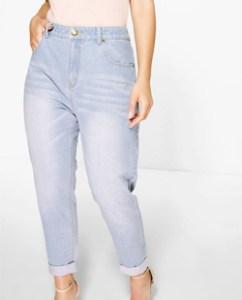 Boohoo Plus Riley High Waisted Light Wash Mom Jeans