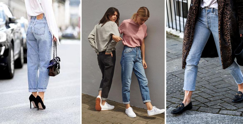 Step away, skinnines! Mom jeans rule. Models wearing mom jeans, stilettos and sneakers walk down street.