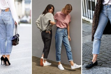 Step away, skinnines! Mom jeans rule. Models wearing mom jeans, stilettos and sneakers walk down street.