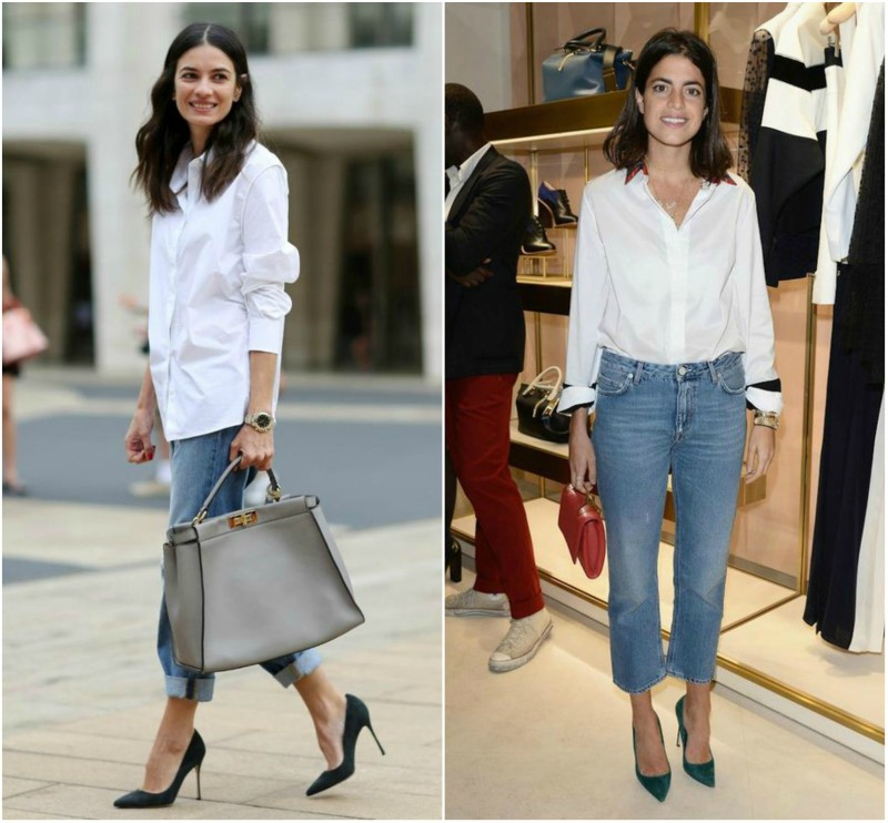 Mom Jeans with a white shirt styled for the office
