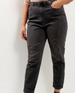 New Look Curves Black Ripped Turn Up Hem Boyfriend Jeans