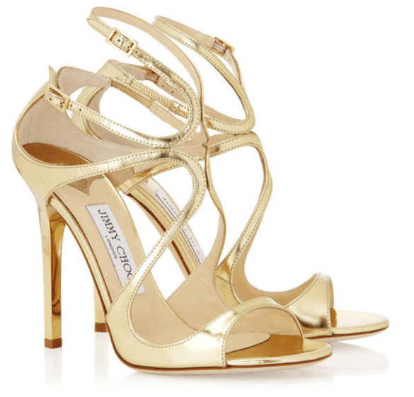 Jimmy Choo Lance Gold Mirror Leather Sandals £550