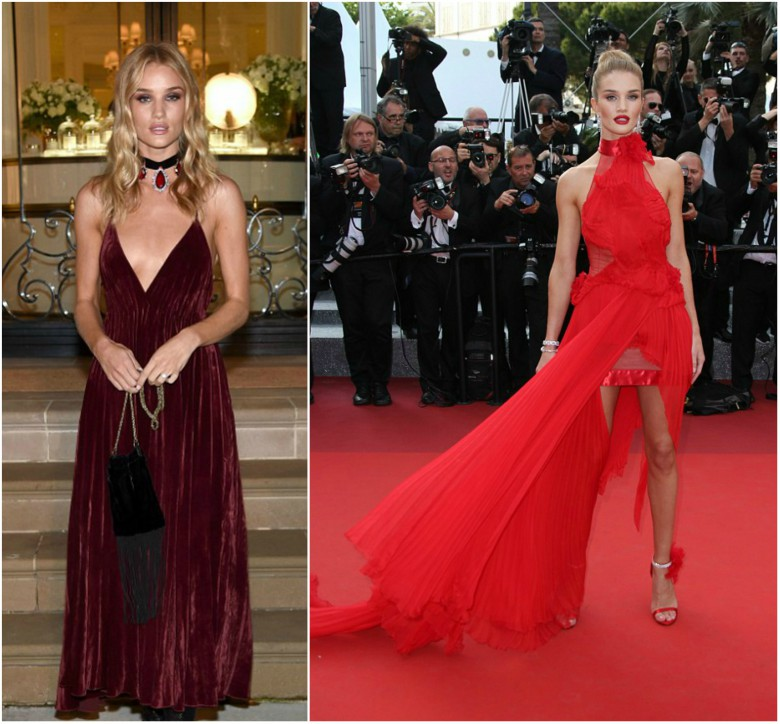Rosie Huntington-Whiteley wearing a dark red velvet dress and a red halter neck dress
