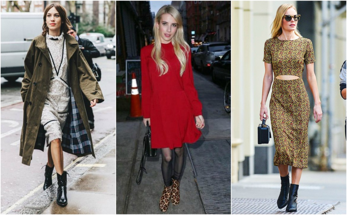 Celebrities in Chelsea boots and winter dresses: Alexa Chung, Emma Roberts, Kate Bosworth