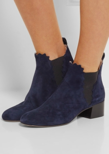 Net-a-Porter Chloe Suede Scalloped Ankle Boots