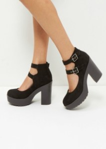 New Look Black Suedette Double Strap Chunky Block Heels