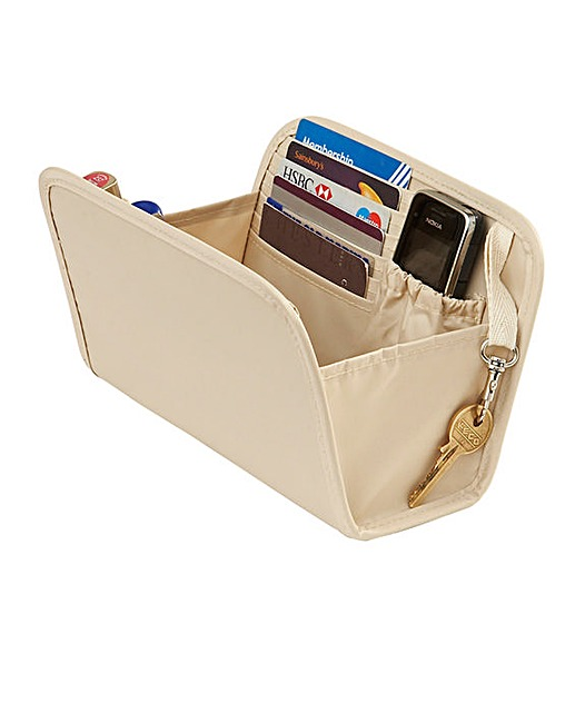 small beige purse organiser