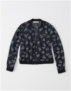 Black and blue embroidered bomber jacket