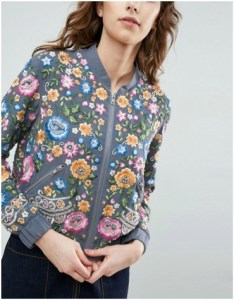 Grey bomber jacket with embroidered flowers