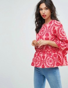 Pink embroidered smock peplum top