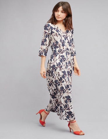 Anthropologie Rosabella Silk Floral Dress in Navy