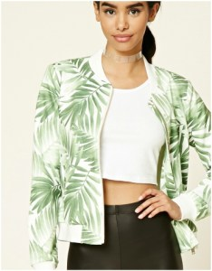 Green palm leaf printed bomber jacket